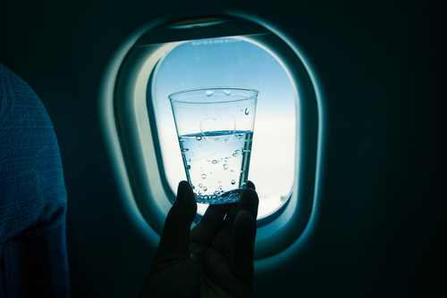 cup of water in airplane