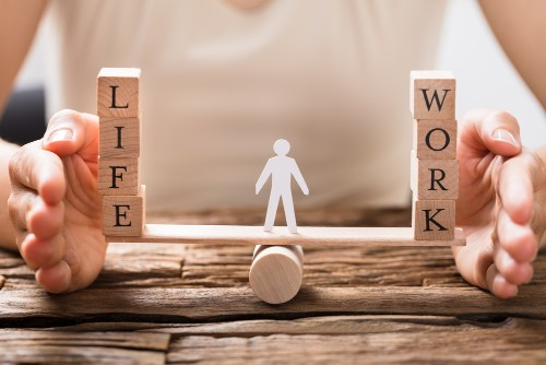 work and life on a balance scale